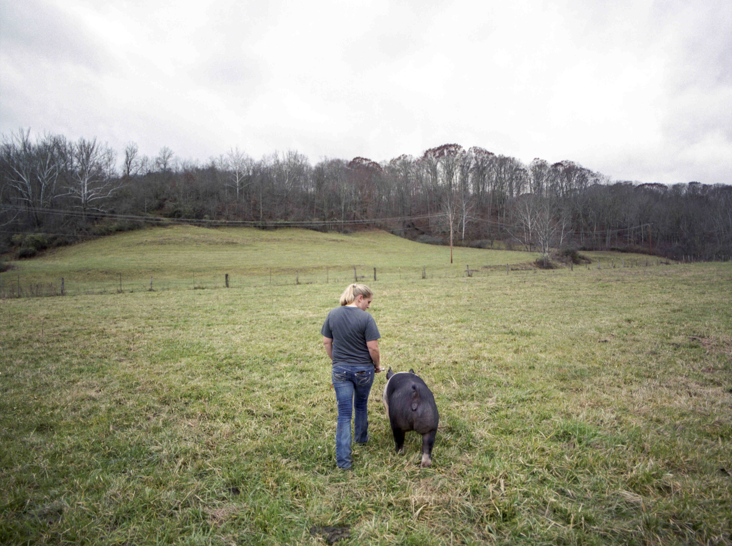 Emily Bush takes a walk with one of her pigs on her farm in rural Athens County, Ohio. - Shot on Fujifilm Pro 400 (120)