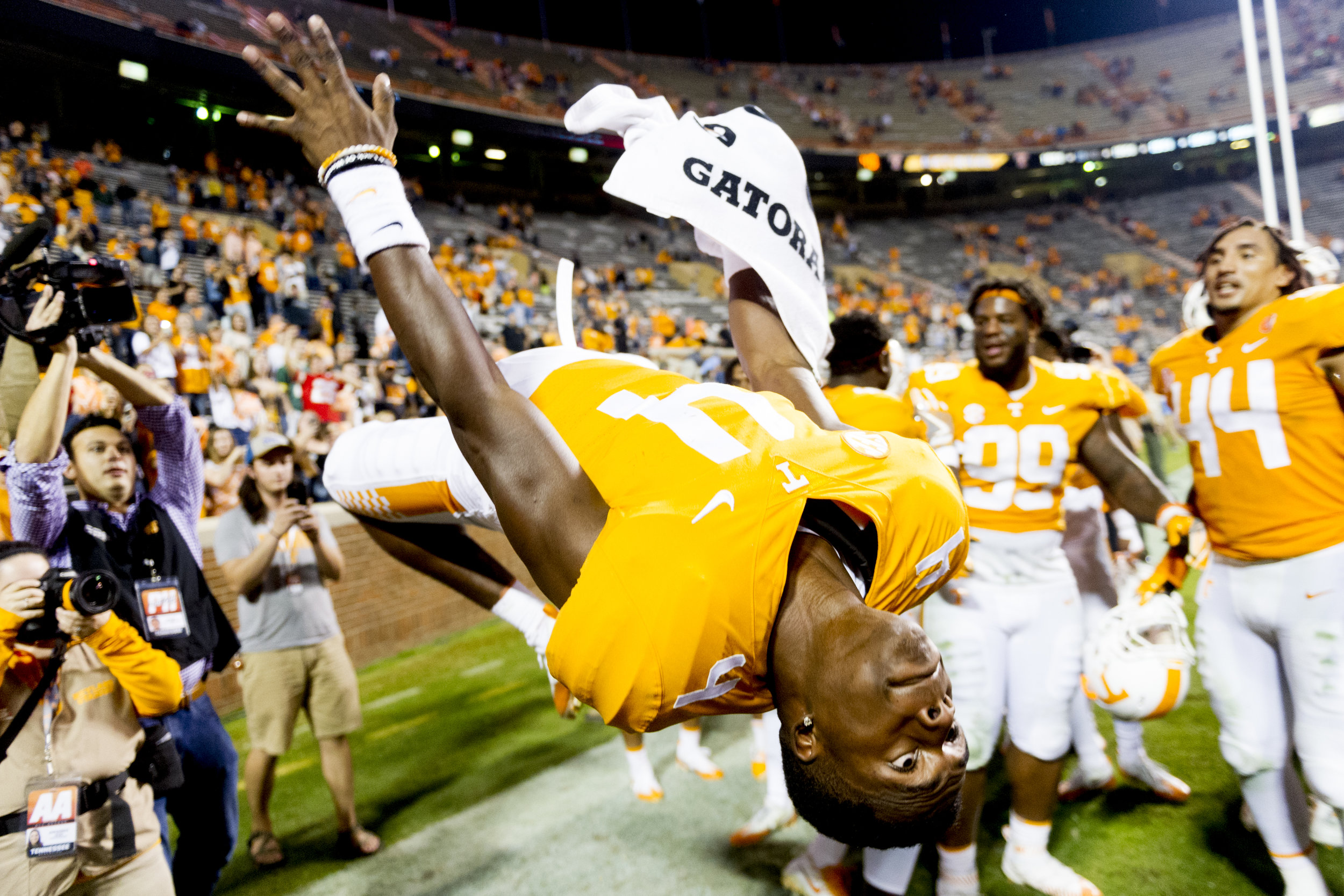 Tennessee defensive back Maleik Gray (4) does a backflip after defeating Southern Miss 24-10 at Neyland Stadium.