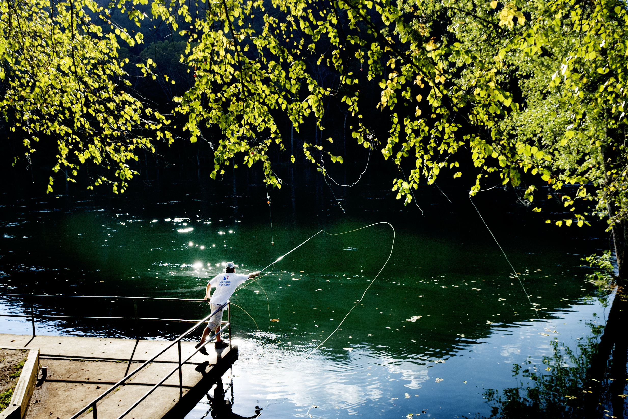 Matt Prentice, of Knoxville, fly fishes for large mouth bass on the Clinch River in Clinton, Tennessee.