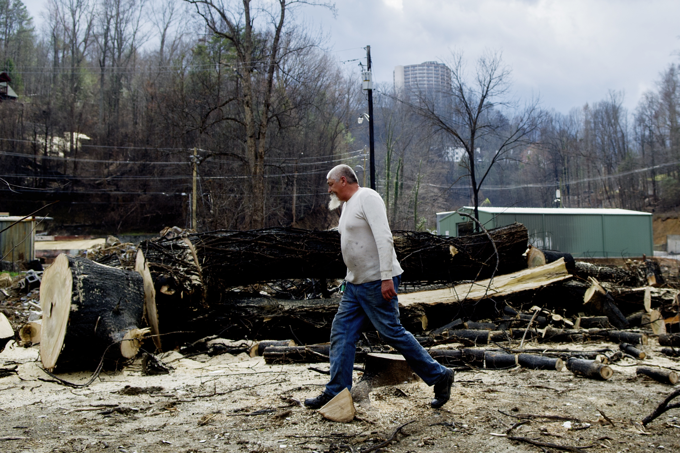 David Dowling of Monkey Man Tree Service works cutting apart a downed tree damaged by the wildfires along Baskin's Creek Road 90 days after the Gatlinburg wildfires in Gatlinburg, Tennessee.