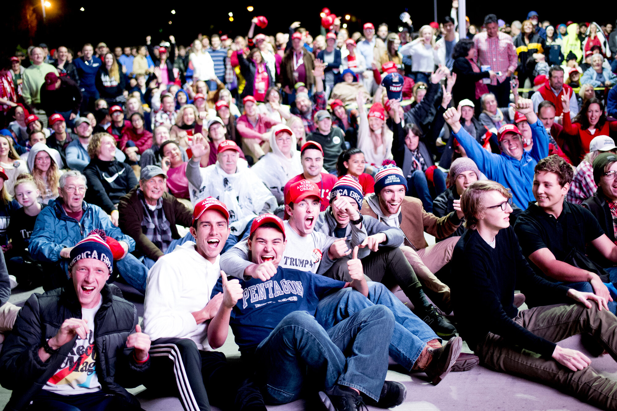 "Supporters of President Donald Trump cheer during the president's ""Make America Great Again"" Rally at McKenzie Arena in Chattanooga, Tennessee in November 2018."