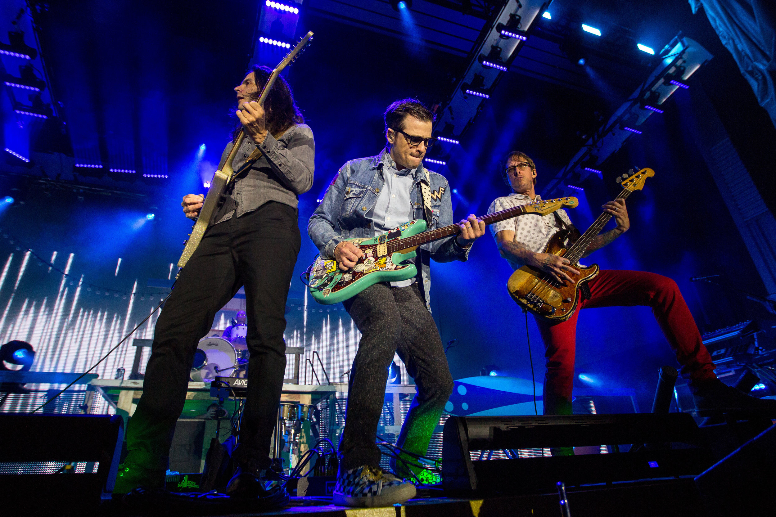 Weezer performs together on center stage at Stage AE in Pittsburgh on Sunday night.