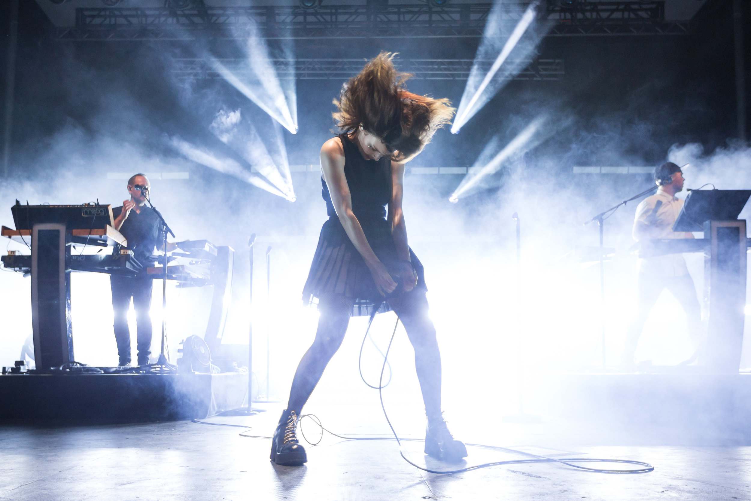 Lauren Mayberry, lead vocals for Chvrches, a Scottish synthpop band, dances on stage on day one of Thrival Music Festival in Rankin on Friday September 23, 2016.