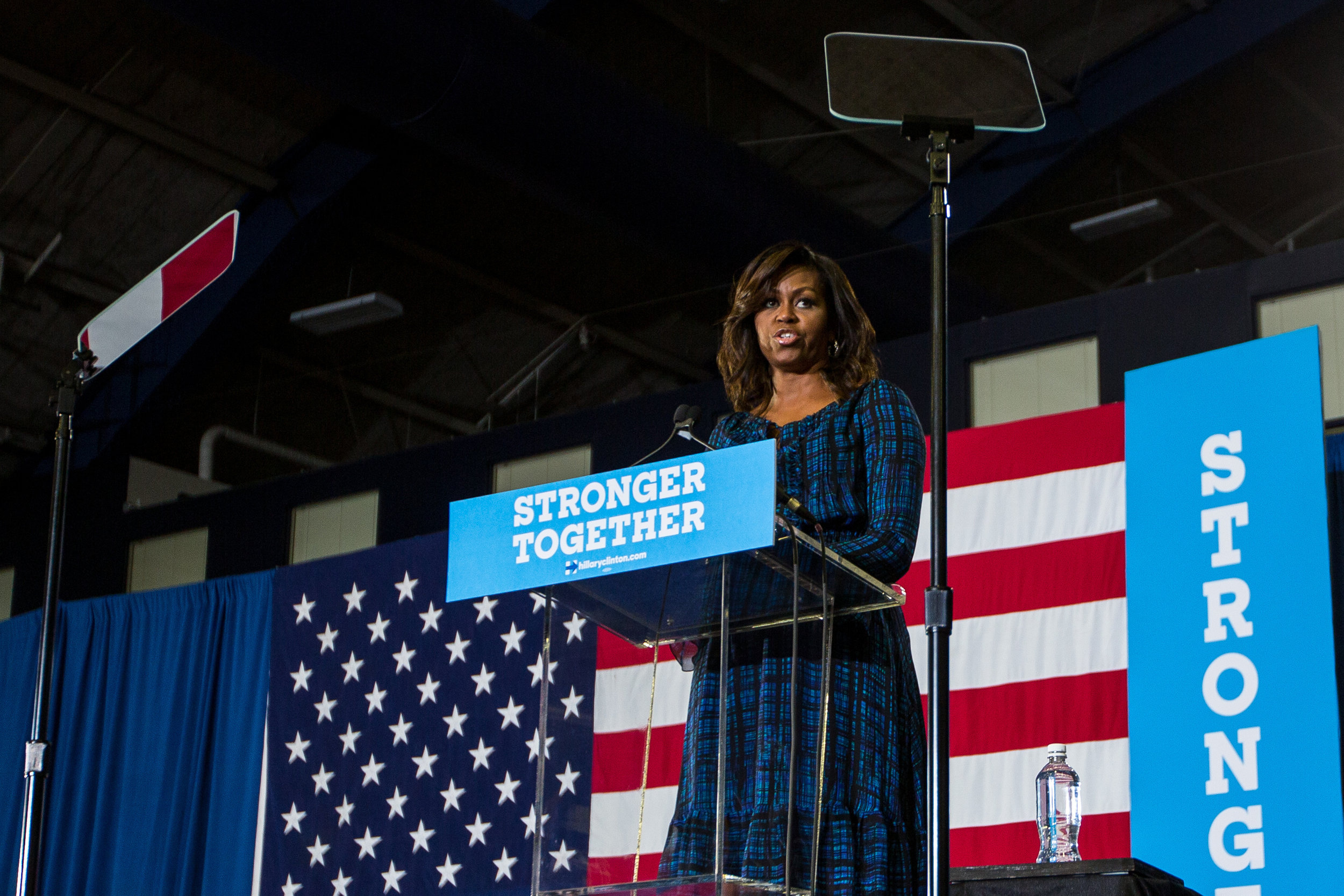 First Lady Michelle Obama addresses thousands at the Fitzgerald Field House at the University of Pittsburgh on Wednesday afternoon. First Lady Michelle Obama showed her support for Democratic presidential nominee Hillary Clinton and encouraged young people to vote.