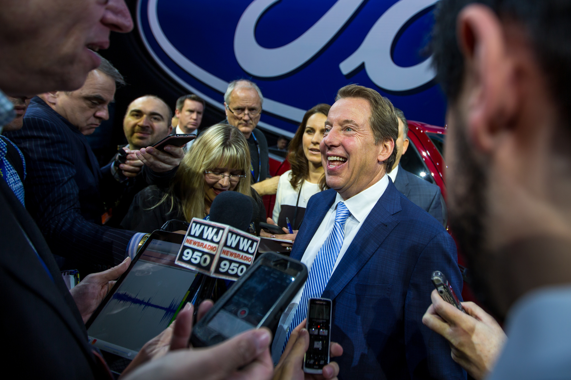 William Clay Ford Jr., Chairman of Ford, talks with reporters at the Joe Louis Arena during the North American International Auto Show on Monday, January 9, 2017. Additionally, Ford announced the return of the Bronco for 2020 and their partnerships with urban areas to improve traffic patterns and transportation. Matt Weigand | The Ann Arbor News