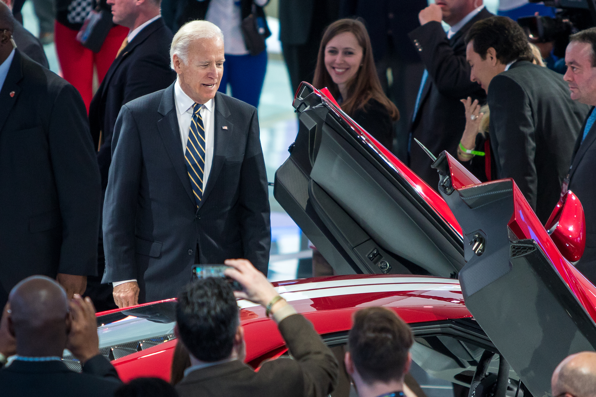 Vice President Joe Biden looks at the #68 Ford GT Le Mens winner while at the North American International Auto Show at the Cobo Center on Tuesday, January 10, 2017. Biden toured the Ford, Chrysler and GM booths at the auto show and met with executives from each company. Matt Weigand | The Ann Arbor News