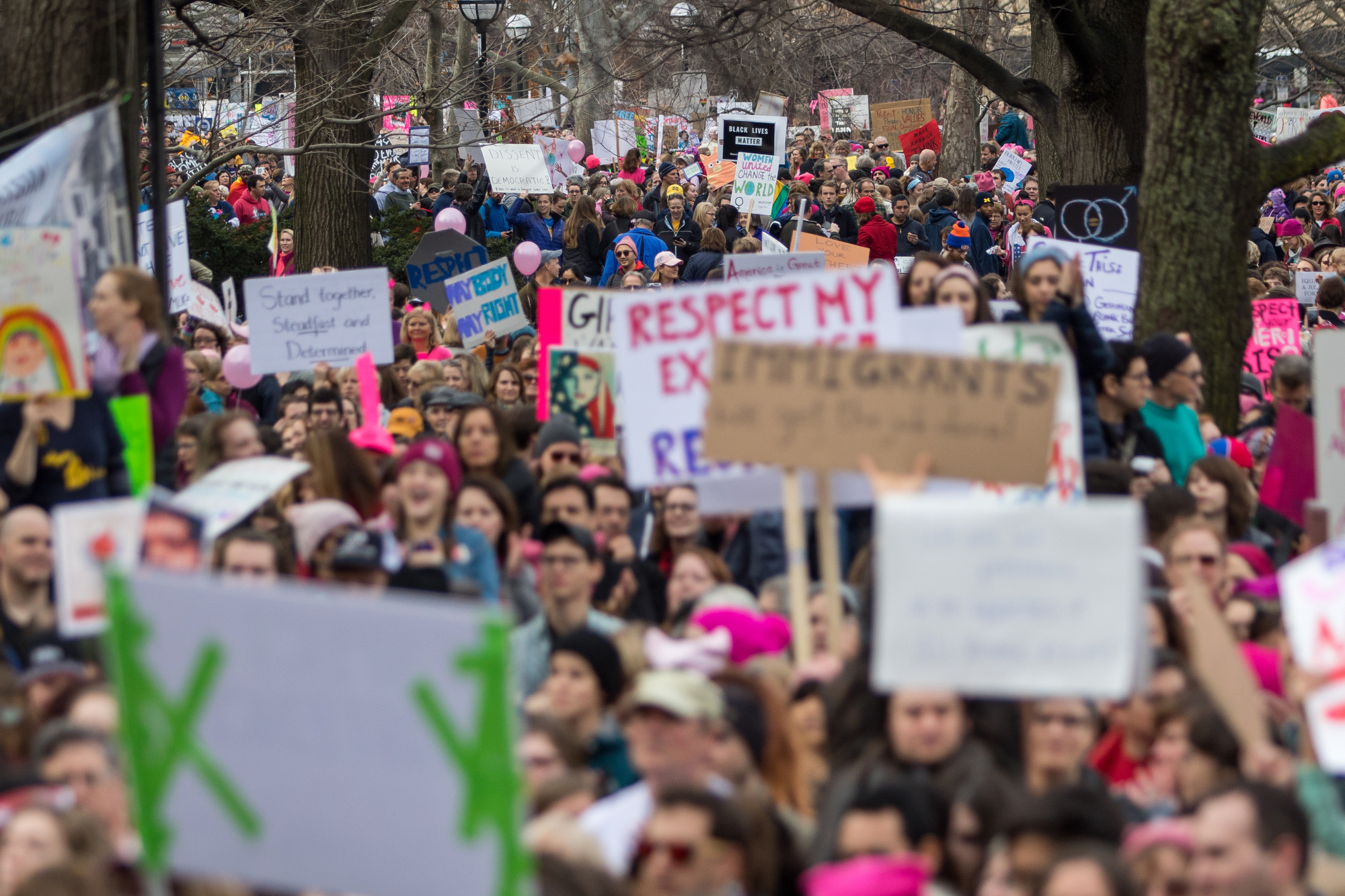 Thousands gather at the Diag at the University of Michigan during the Women's March on Saturday, January 21, 2017.  The march was one of several throughout the country and drew over 6,000 people. Matt Weigand | The Ann Arbor News