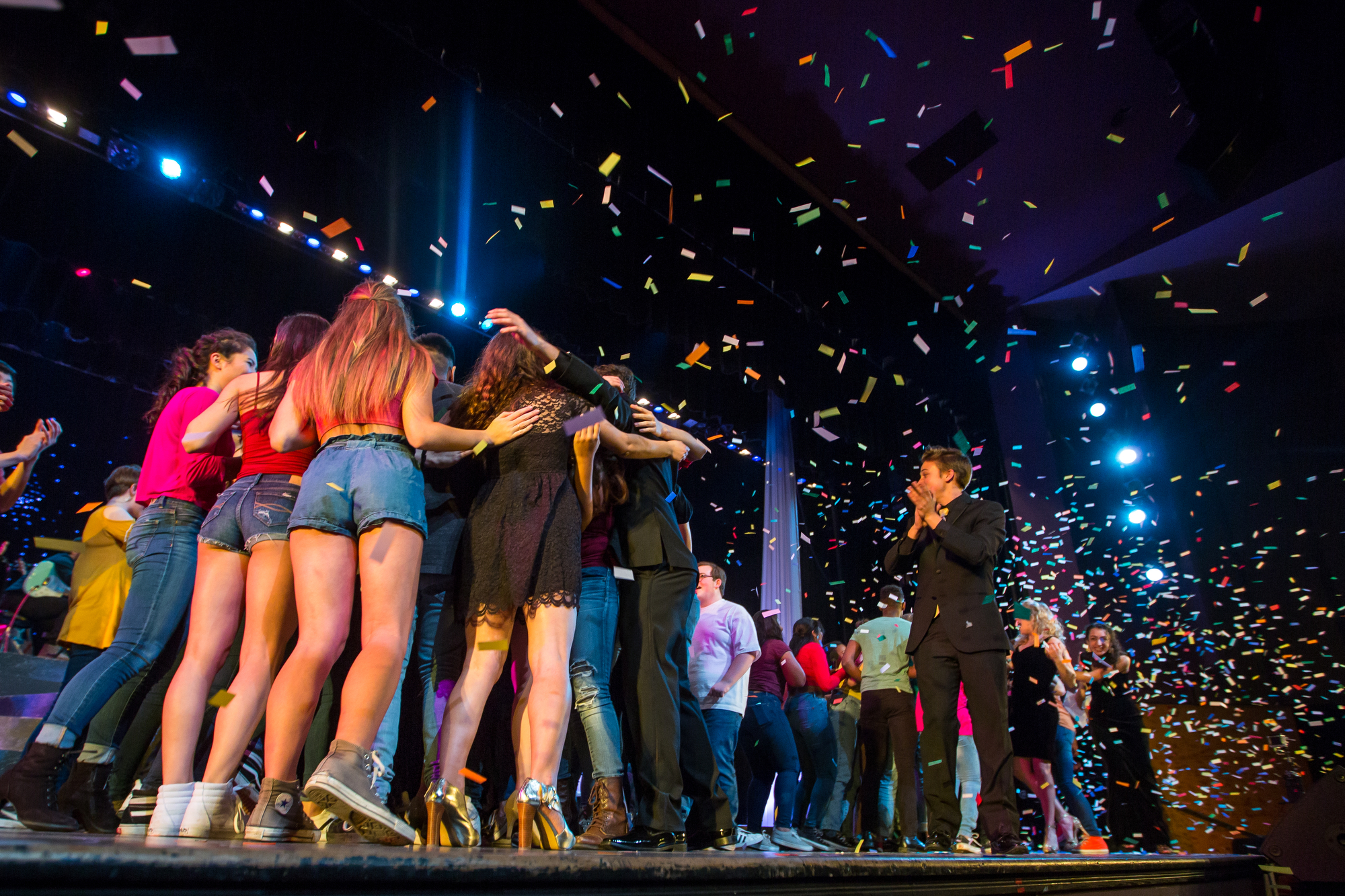 Students celebrate as the winners of the 15th annual Future Stars talent competition are announced at Pioneer High School on Saturday, January 28, 2017. 23 acts and about 90 students participated in the citywide competition. Matt Weigand | The Ann Arbor News