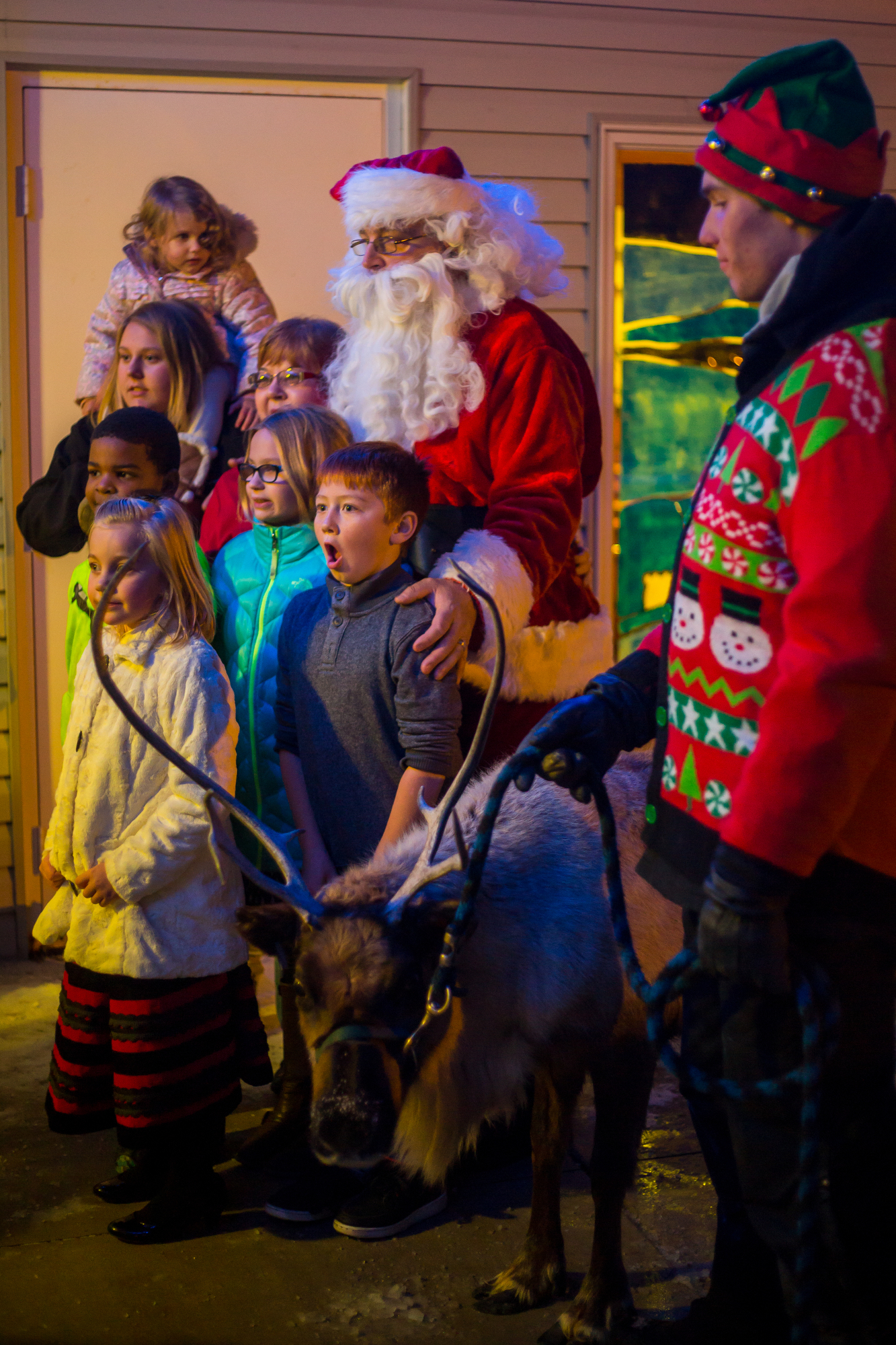 People take a photograph with Clarice, a four-year-old reindeer, at Faith Assemble Church in Belleville on Sunday, December 18, 2016. Carousel Acres has four reindeer that they take to various events and parties around Washtenaw County. Matt Weigand | The Ann Arbor News