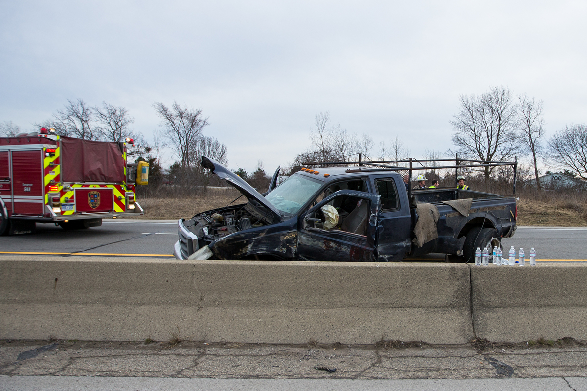 Emergency personnel work the scene of an accident on I-94 east near State St. on Thursday, February 23, 2017. Matt Weigand | The Ann Arbor News