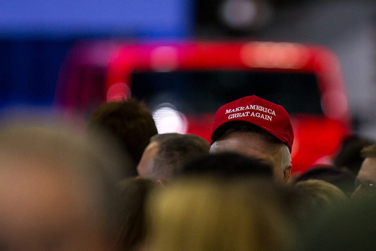 A man waits in the crowd before the arrival of President Donald Trump at the American Center for Mobility in Ypsilanti Township on Wednesday, March 15, 2017. Matt Weigand   The Ann Arbor News