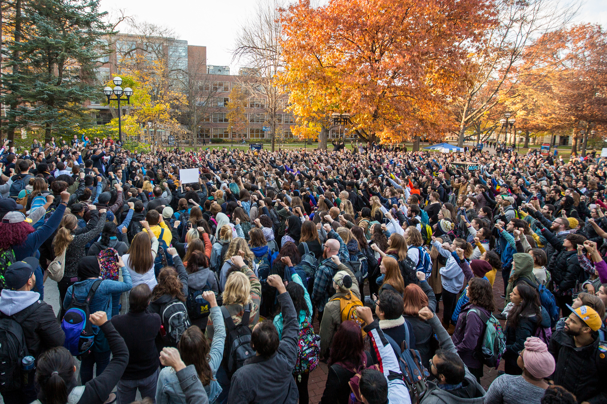 Rev Jesse Jackson addresses Michigan students while briefly attending a gathering of thousands of students at the Daig after they staged a walk-out at 3:00 p.m. on Wednesday, November 16, 2016.