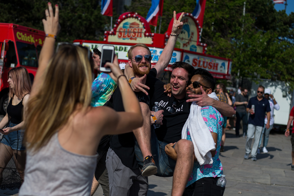 Festival goers take a photograph at Hart Plaza in downtown Detroit for day one of Movement Electronic Music Festival on Saturday, May 27, 2017. Over 100 artists are scheduled to perform over the three-day Memorial Day festival. Matt Weigand | The Ann Arbor News