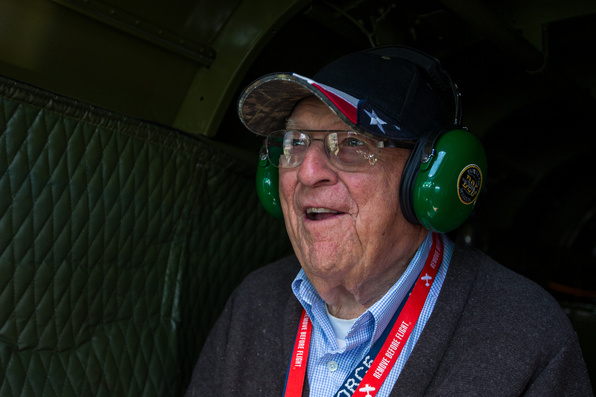 George Lusko smiles while sitting in a 1945 B-25 Mitchell Bomber on Saturday, June 24, 2017. StoryPoint Senior Living in Saline surprised their 99-year-old resident George Lusko with his dream of flying in the B-25. Lusko and his unit in World War II were credited with 27 shoot downs of enemy aircraft in a B-25 Mitchell Bomber.  Matt Weigand | The Ann Arbor News