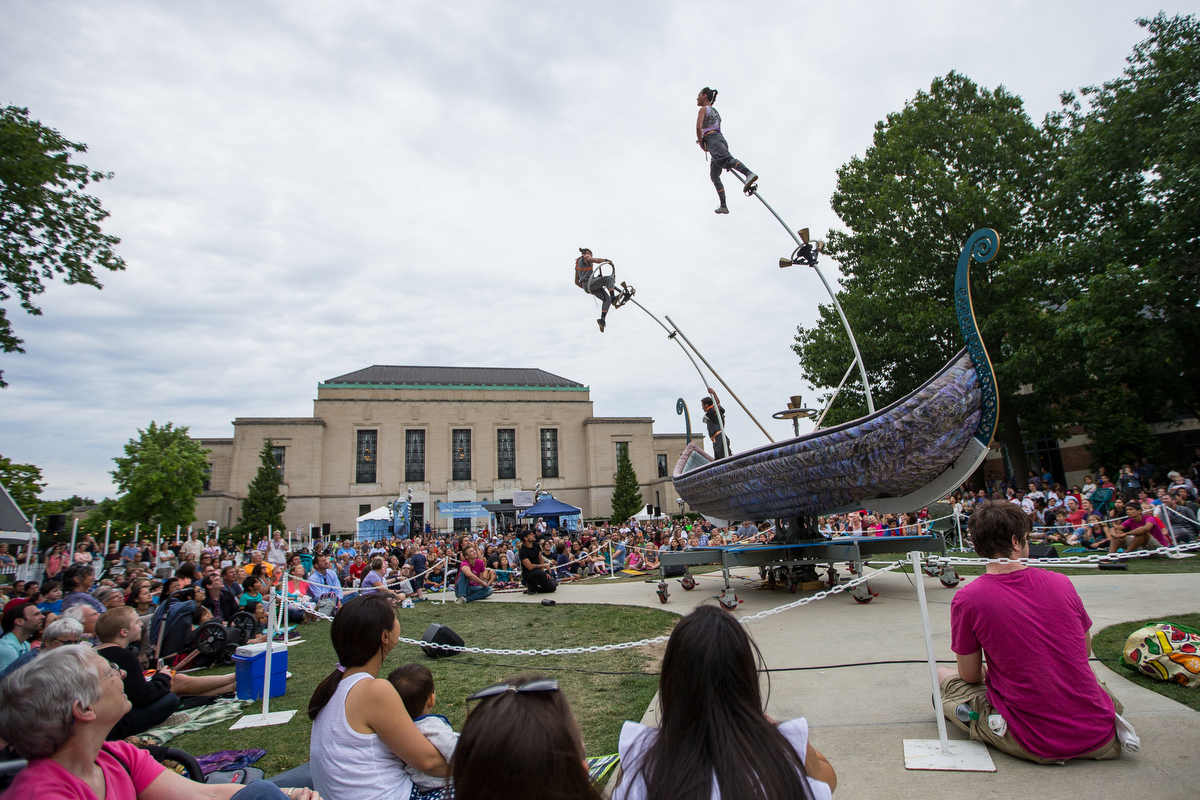 "Members of Strange Fruit, an Australia acrobatic group, performs during their Tall Tales of the High Sea routine at Top of the Park on Wednesday, June 28, 2017. The routine followed ""three eccentric mariners as they explore the power of the imagination in a quest for common ground,"" according to their Top of the Park bio. Matt Weigand 