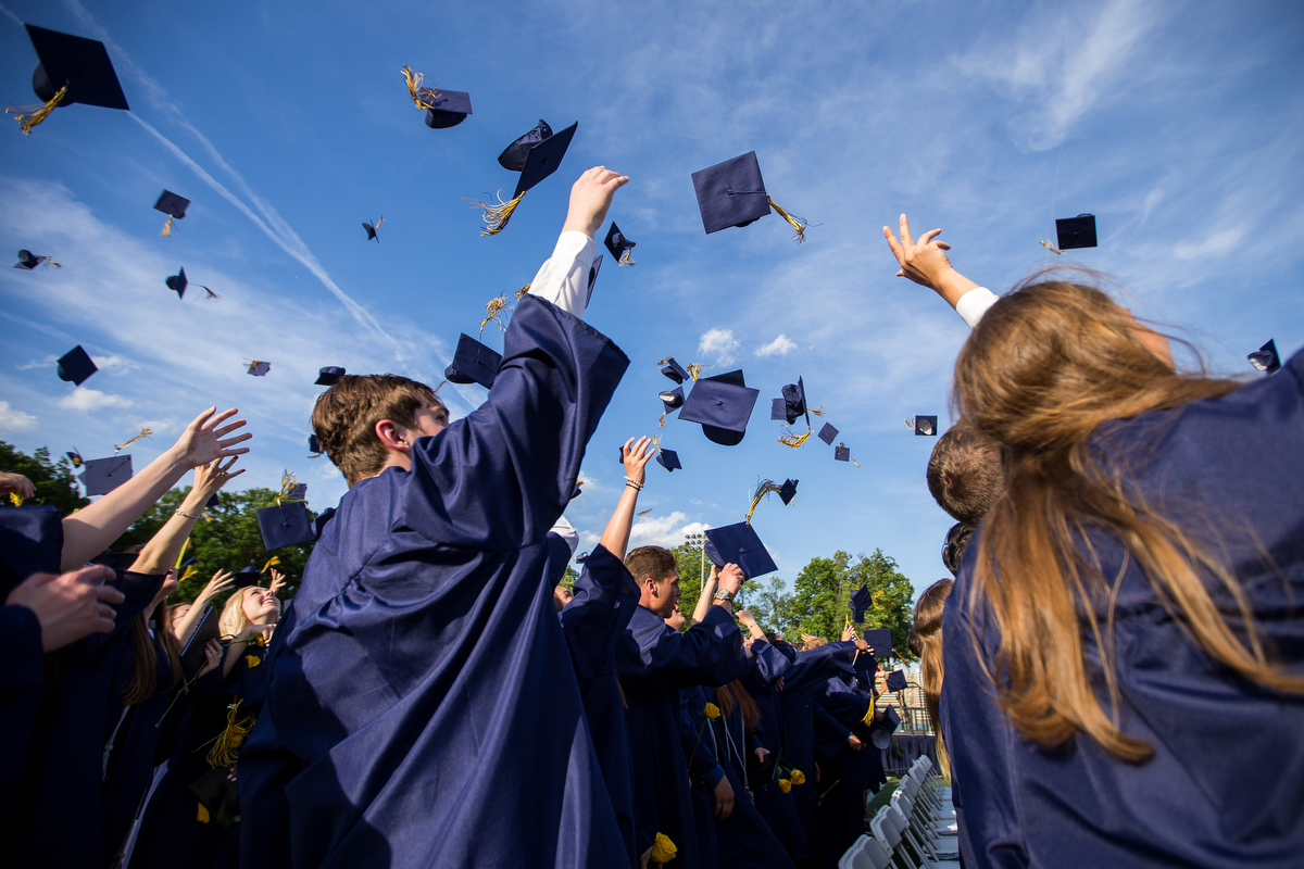 Saline High School students attend their graduation at Saline High School on Sunday, June 4, 2017. The graduating class included 446 seniors and Tammy Carr, co-founder of the ChadTough Foundation was their commencement speaker. Matt Weigand | The Ann Arbor News