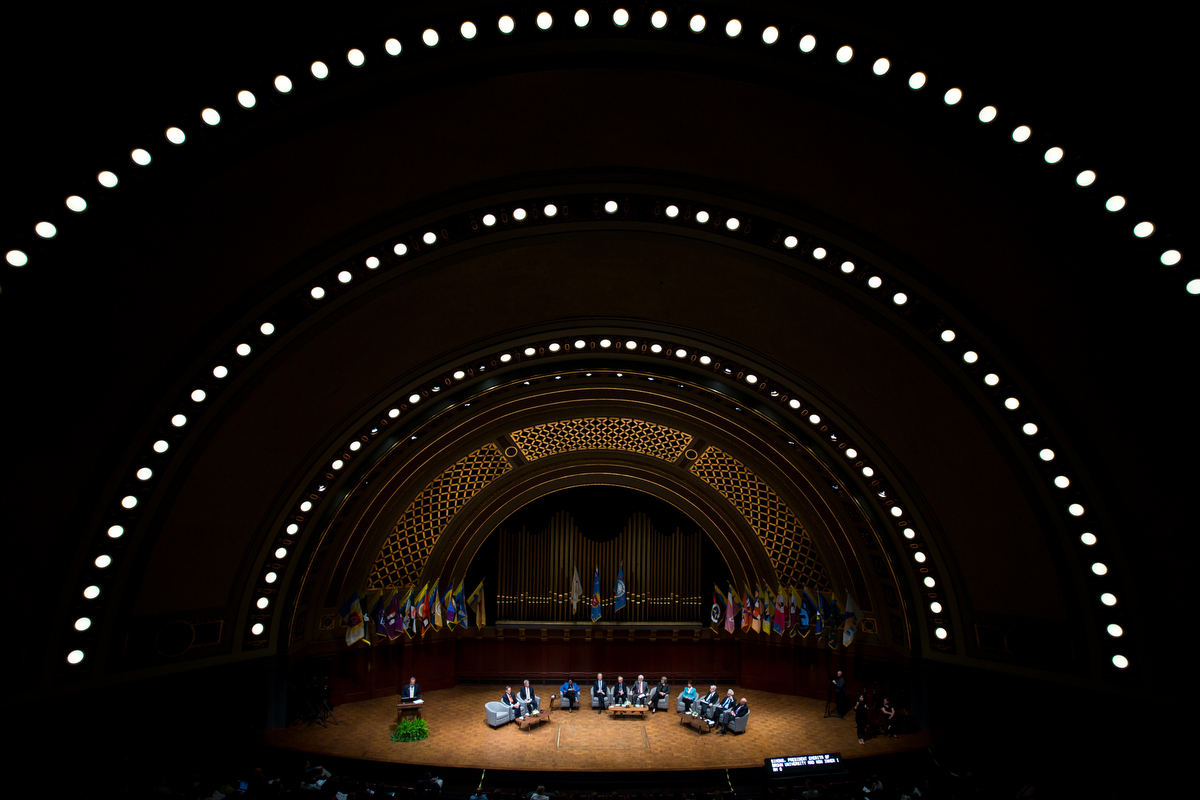 Members of the Board of Tanner Lectures on Human Values sit during the President's Bicentennial Colloquium at Hill Auditorium on Monday, June 26, 2017. The colloquium was a conversation to examine the current and future relationship between the university and society. Matt Weigand | The Ann Arbor News