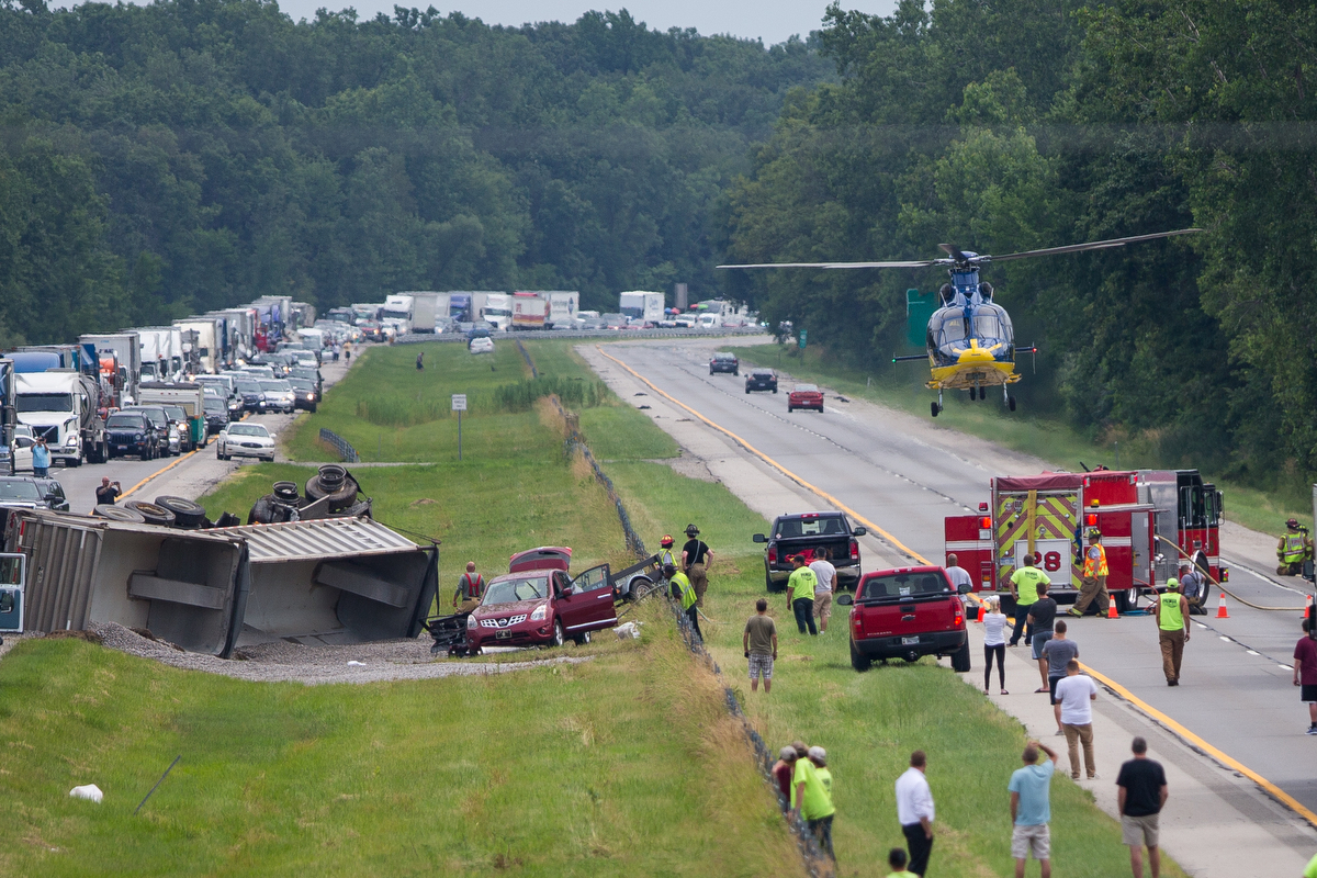University of Michigan Survival Flight leaves the area of a multiple vehicle crash on northbound US-23, south of Sherman Road just south of Milan on Friday, July 7, 2017. Five people were injured and one is in critical condition. The cause of the accident is under investigation. Matt Weigand | The Ann Arbor News