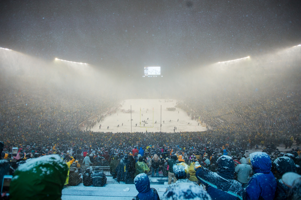 Heavy snow falls during the fourth quarter of play between the Michigan Wolverines and the Indiana Hoosiers at Michigan Stadium on Saturday, November 19, 2016. Michigan beat Indiana 20-10. Matt Weigand | The Ann Arbor News
