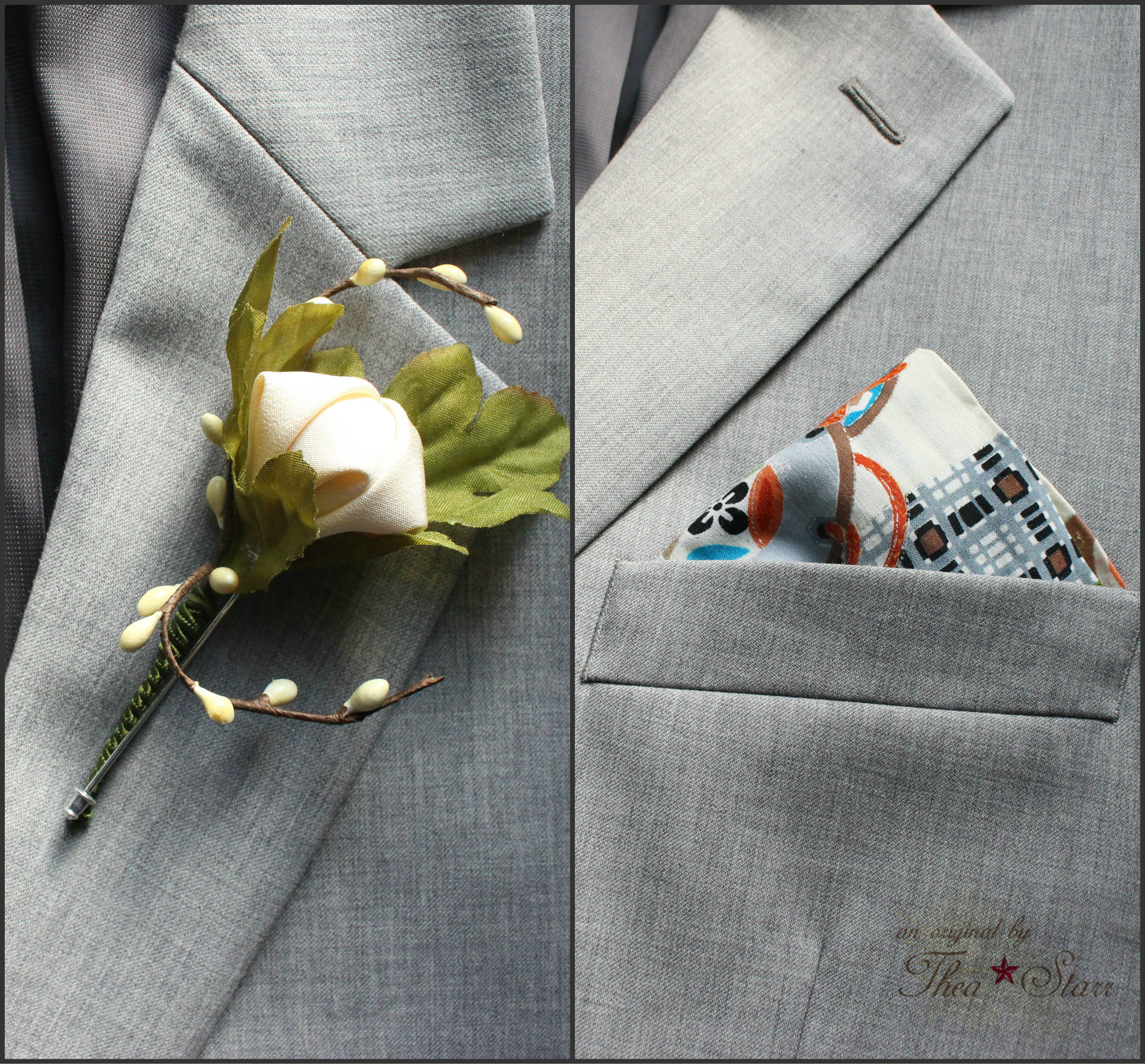 Boutonnieres and pocket squares made from vintage kimono fabric.