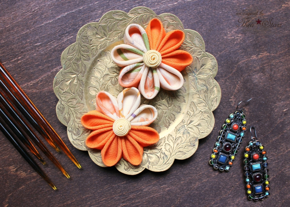 Orange Gradient Kanzashi | Thea Starr