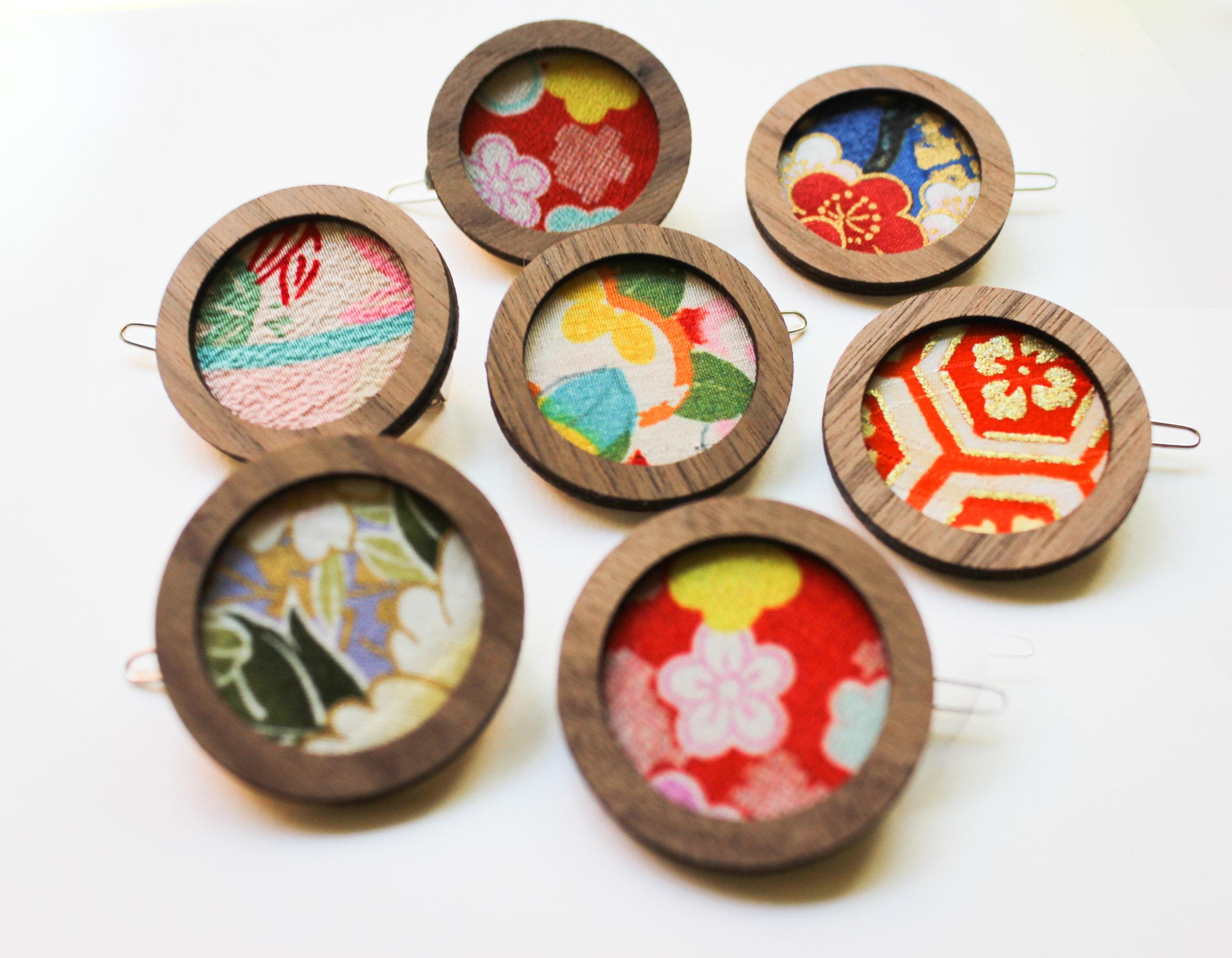Thea Starr | Vintage Kimono Circle Clips