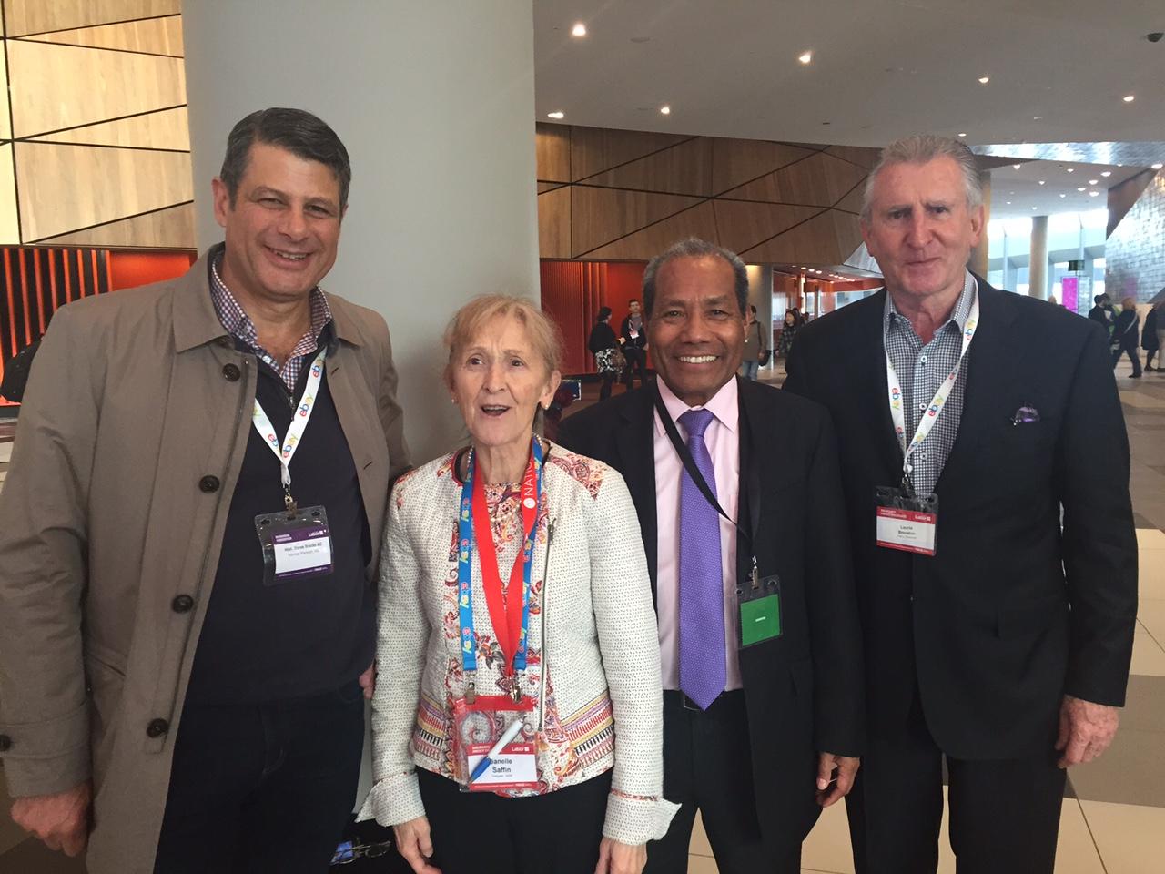 Steve Bracks, Janelle Saffin, Ambassador Abel Guterres and Laurie Brereton, advocating for Timor-Leste at ALP Conference 2015