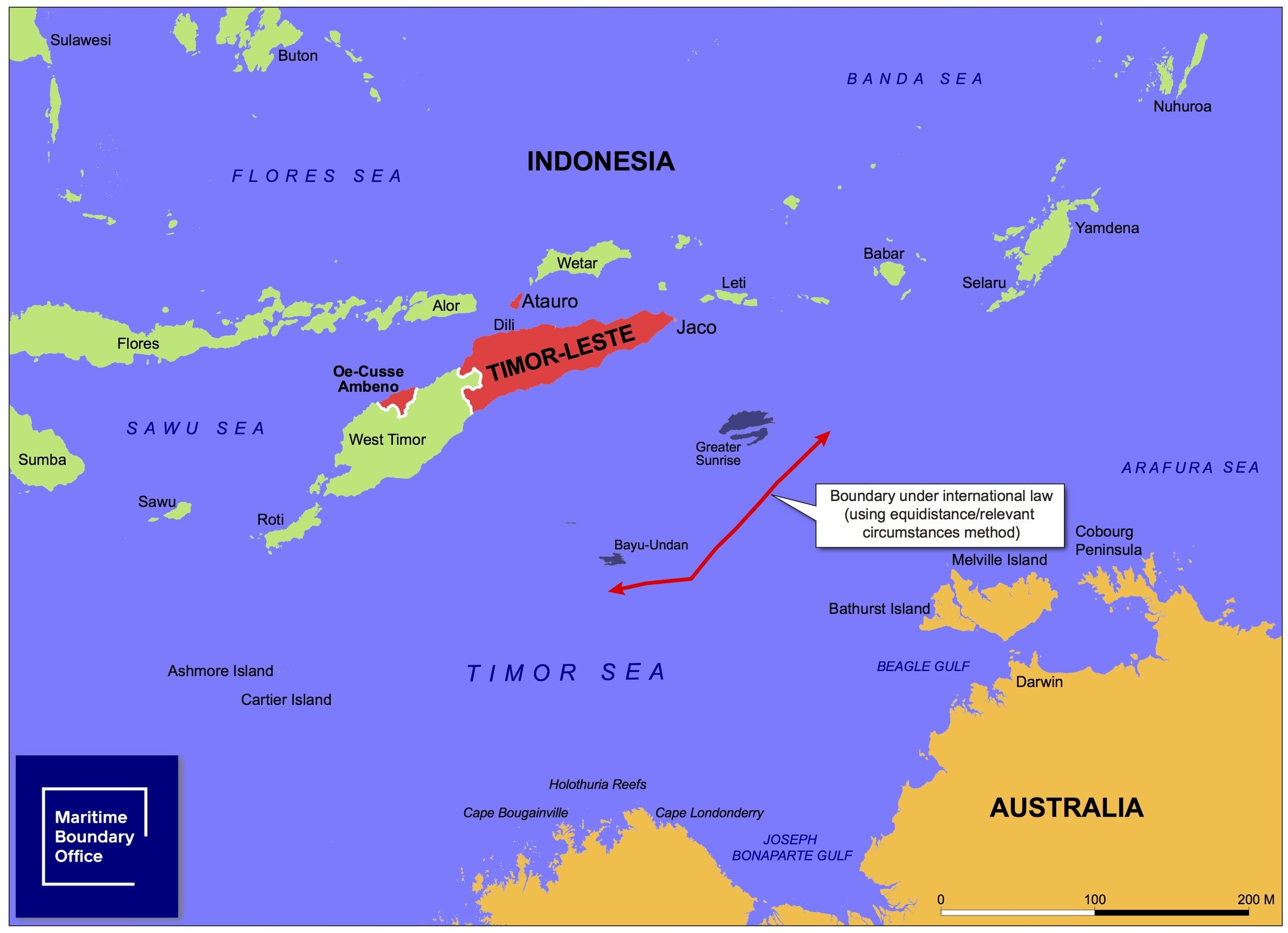 This map shows what the boundary is likely to look like according to the application of international law - courtesy of Timor-Leste's  Maritime Boundary Office