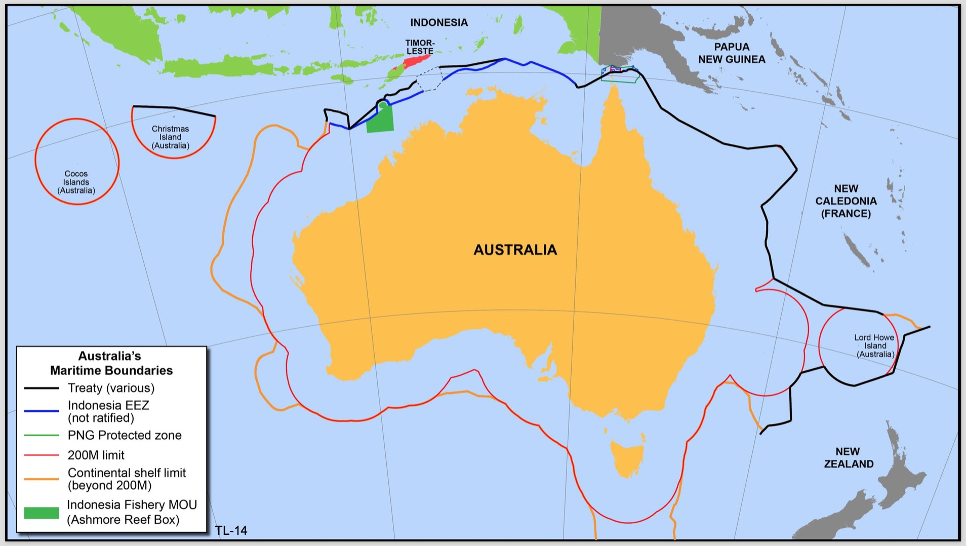 Australia's Maritime Borders - not complete because of the remaining 1.8% between us and East Timor. Map presented by Timor-Leste at Conciliation Commission Hearing 29/8/16