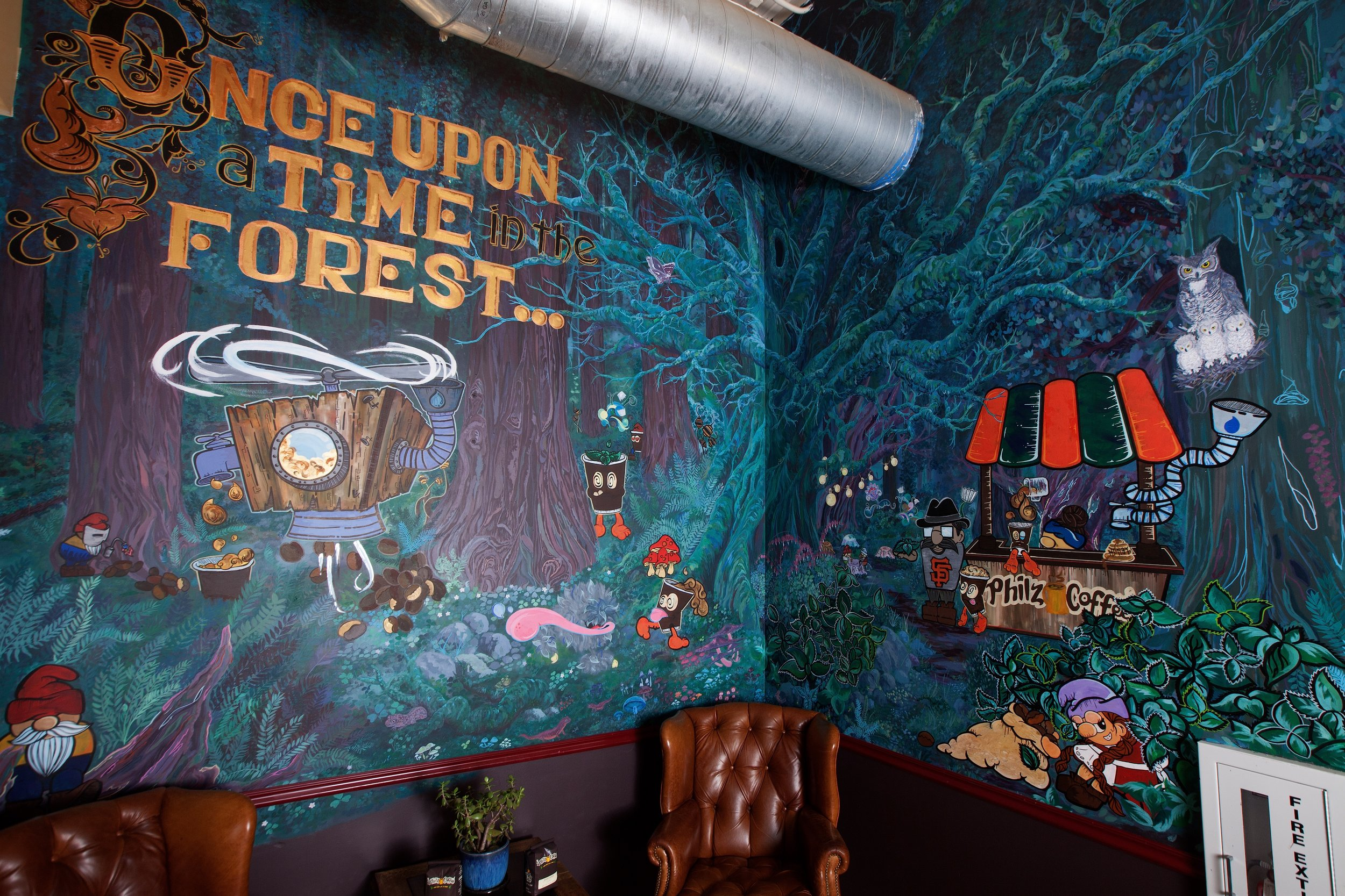 Philz Forest Mural
