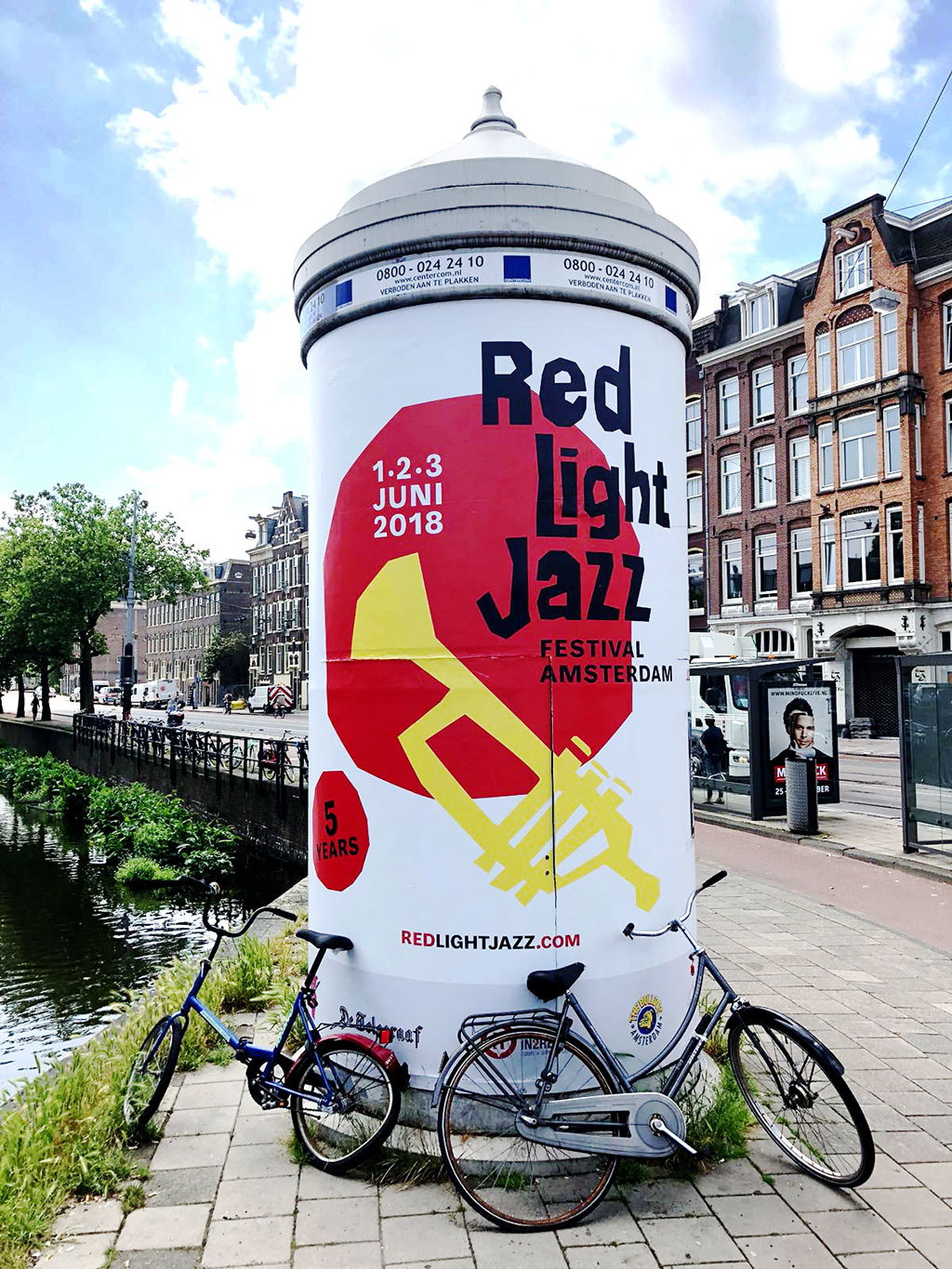 Identity & branding - Identity and branding for the jazz festival in the red light district of Amsterdam. This fifth anniversary of Red Light Jazz focusses on the trumpet and legendary jazz trumpet player Chet Baker who died 30 years ago in Amsterdam.