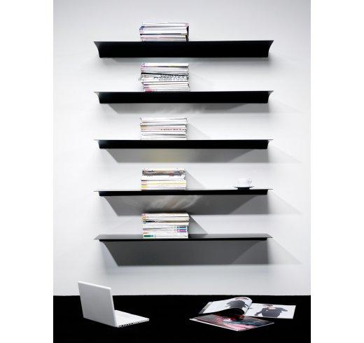 Exilis aluminiumshyller i 180 mm. og 280 mm. dybde, tre farger og lengder på mm. mål inntil 5 meter.