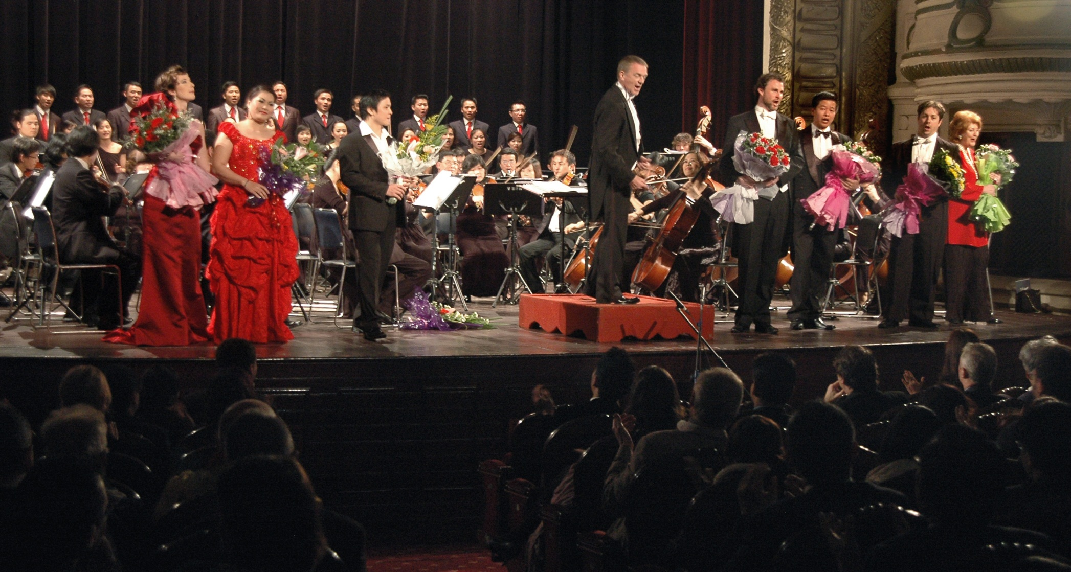 Curtain call at the opera and ballet gala in the Hanoi Opera House in Vietnam