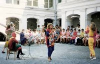 Performing the children's concert at the Brancovenestri Sanatorium on Concordia's first visit to Romania, August '92