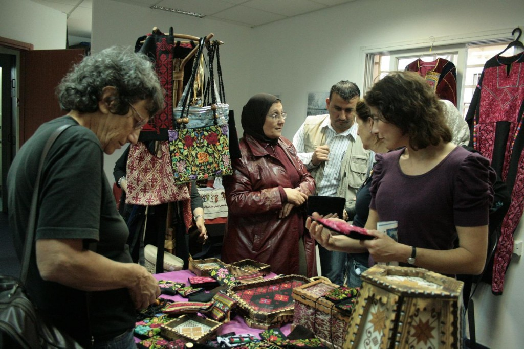 Sale of embroidery from the West Bank.