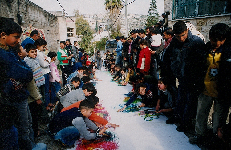 Art day in a West Bank village led by Windows volunteers both Palestinians and Israelis.