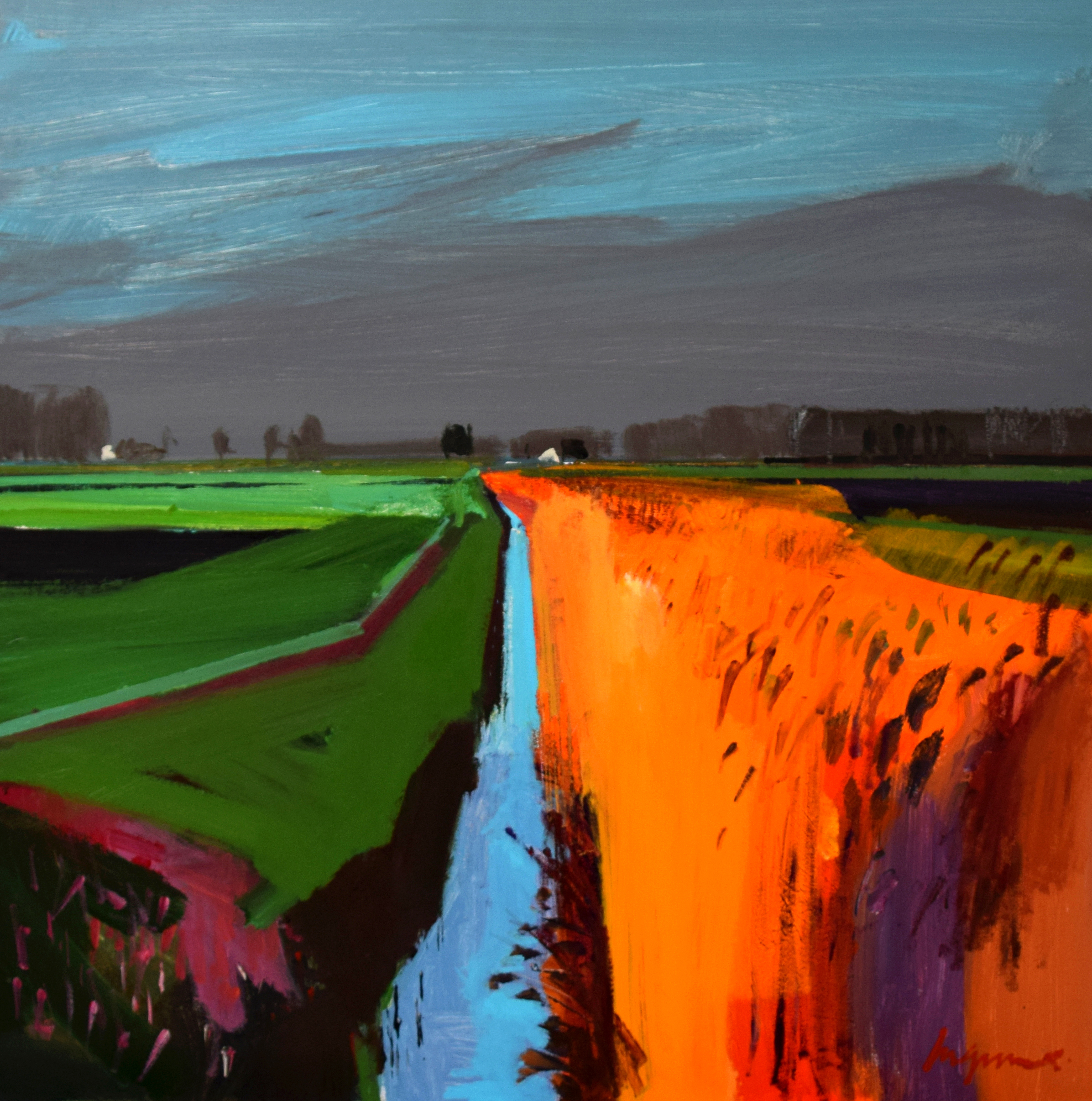 Winter evening, White House Road, Little Ouse
