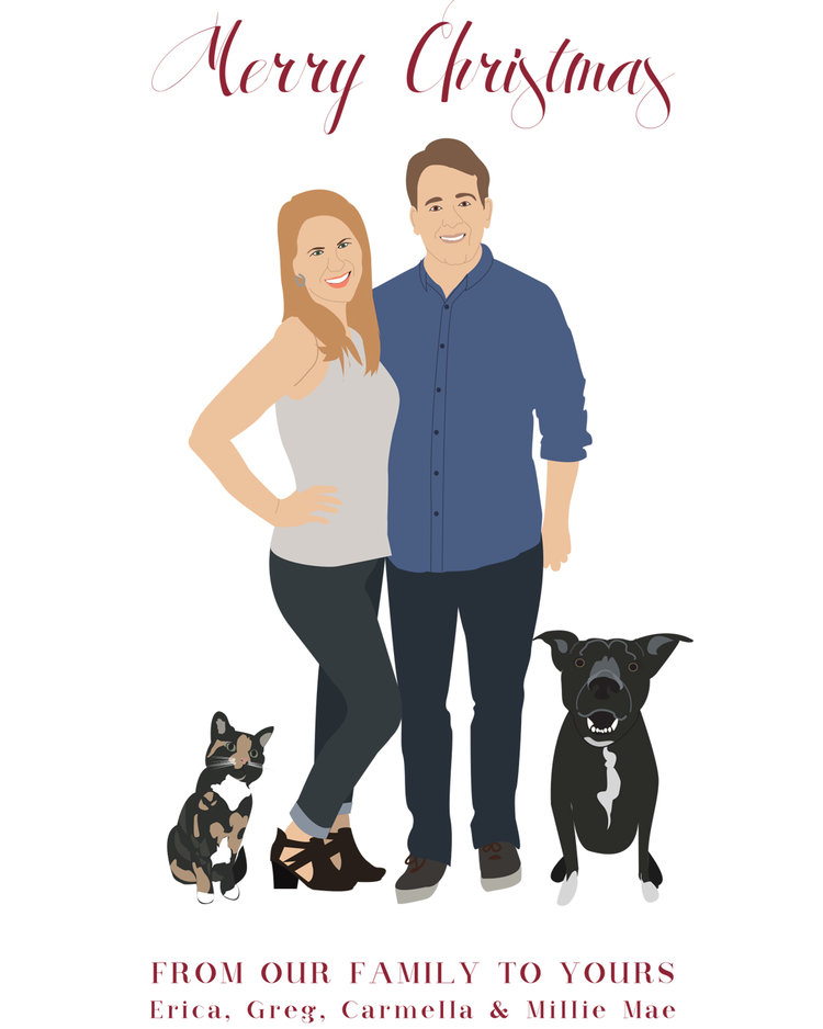 Custom Family Drawing Christmas Card