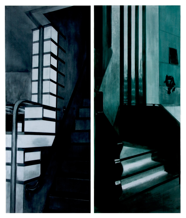 Rebecca Chamberlain-Weber & Reiss, Retail Stair, 1929-2011-litho ink on vintage tracing cloth-60x25.jpg