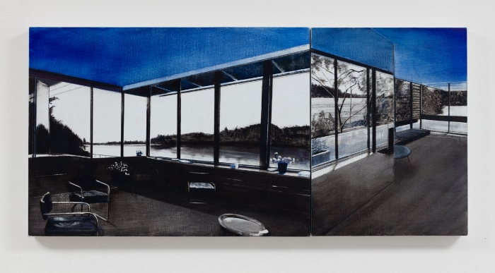 VDL Lakeview Then/Now, Lithography Ink on fabric wrapped boards, Diptych, 12 x 25 inches, 2016