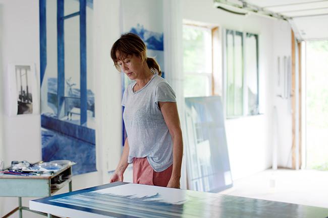 Rebecca Chamberlain in her studio.  Image courtesy: Anna Schori