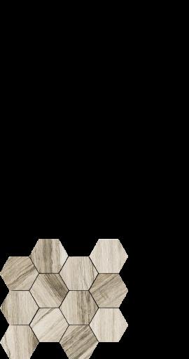 Drift wood look porcelain tile. hexagon. White