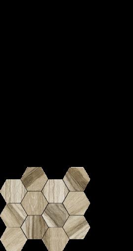 Drift beige, wood look porcelain, hexagon