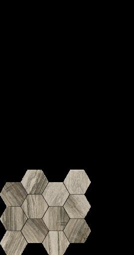 Drift grey, wood look porcelain, hexagon