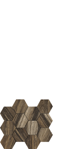 Drift brown wood look porcelain, hexagon