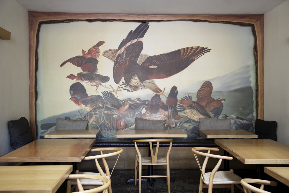 Bird mural at the Kinfolk lounge