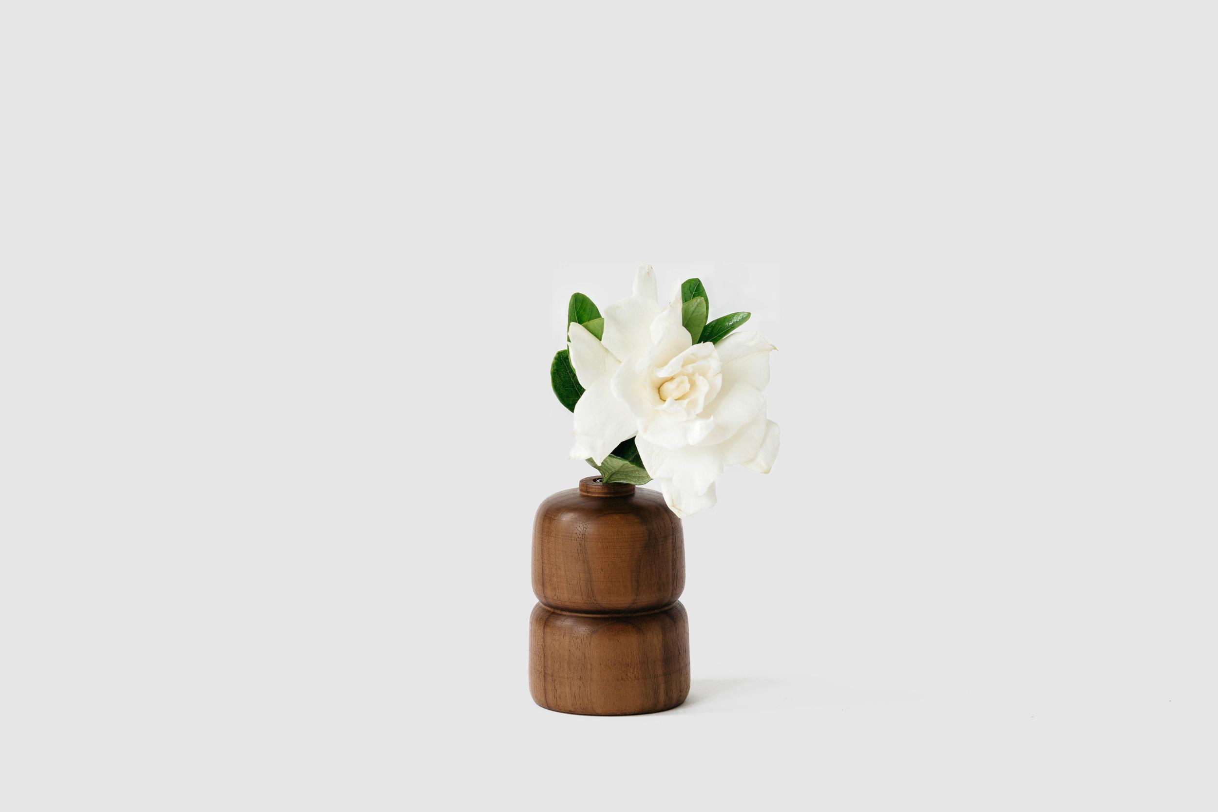Double Walnut Wood Vase