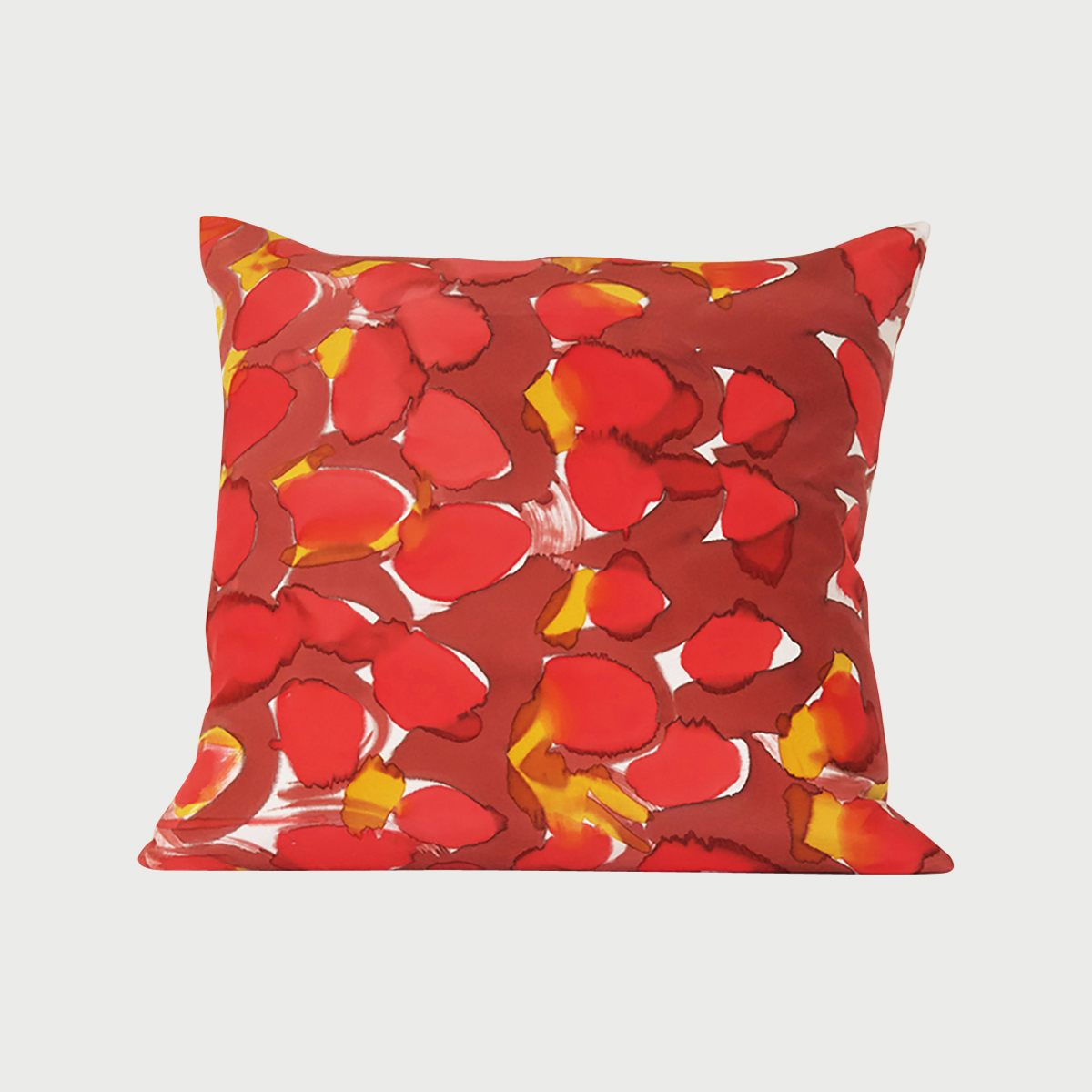 Hand Painted Red Scales Silk Charmeuse Pillow Square