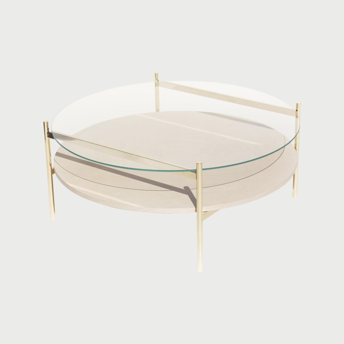 Duotone Circular Coffee Table - Brass / Clear / Birch