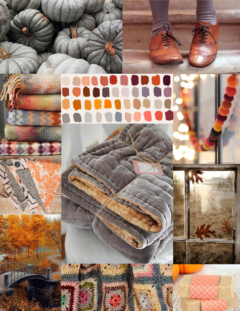 Tan leather, heather grey knit and grey pumpkin inspired moodboard/color palette